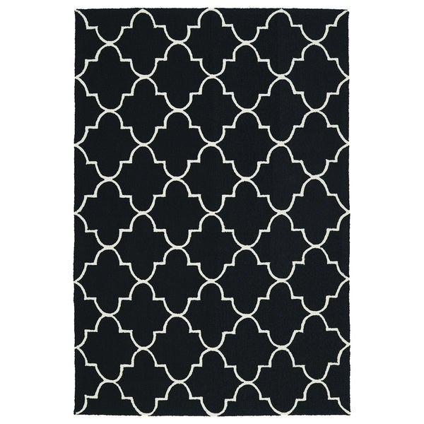 Indoor/ Outdoor Handmade Getaway Black Tiles Rug (2'0 x 3'0)