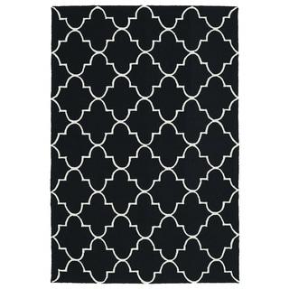 Indoor/ Outdoor Handmade Getaway Black Tiles Rug (9'0 x 12'0)