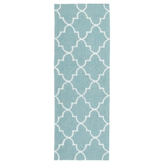Indoor/ Outdoor Handmade Getaway Light Blue Tiles Rug (2'0 x 6'0)