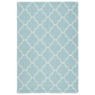 Indoor/ Outdoor Handmade Getaway Light Blue Tiles Rug (8'0 x 10'0)