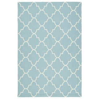 Indoor/ Outdoor Handmade Getaway Light Blue Tiles Rug (9'0 x 12'0)