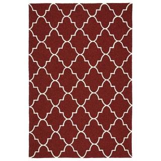Indoor/ Outdoor Handmade Getaway Red Tiles Rug (9'0 x 12'0)