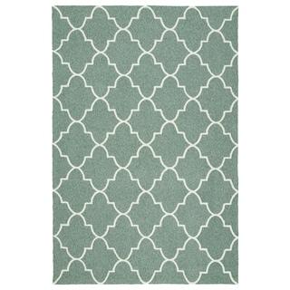 Indoor/ Outdoor Handmade Getaway Mint Tiles Rug (9'0 x 12'0)