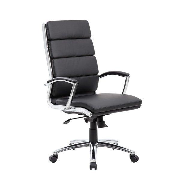 Boss Black CaressoftPlus Chrome Finish Executive Chair