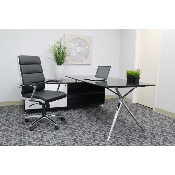 Boss Black CaressoftPlus Chrome Finish Executive Chair