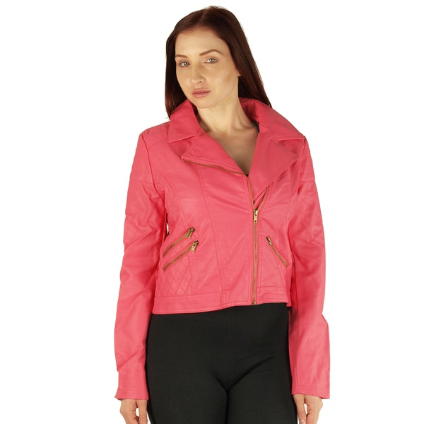Junior's Plus-size Zip-up Faux Leather Jacket