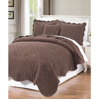 BNF Home Diamond Flannel Quilted 4-piece Coverlet Set