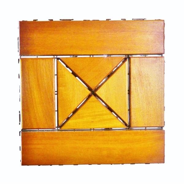 Diamond Essence Garapa Wood Diamantine Style Interlocking Deck Tiles 12 x 12 (Pack of 10) - The Original Eco Deck