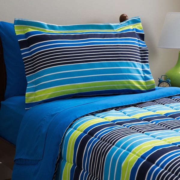 Decklan Stripe 7-piece Bed in a Bag with Sheet Set