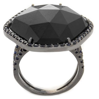 18k White Gold Onyx and Sapphire Cocktail Ring
