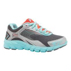 Girls' Fila Maranello 3 Running Shoe Pewter/Aruba Blue/Fiery Coral