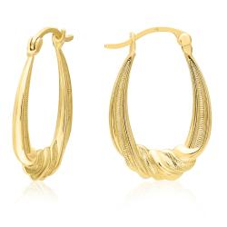 10K YELLOW GOLD OVAL TWISTED HOOP EARRINGS