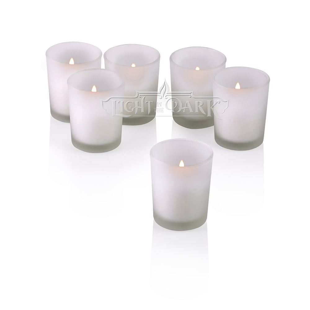 White Frosted Glass Round Votive Candle Holders with Citronella Yellow Votive Candles Burn 10 Hours