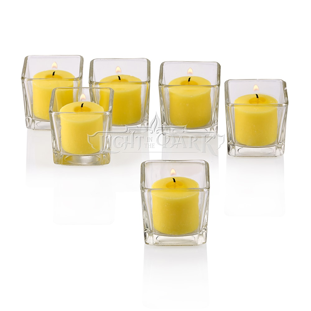 Clear Glass Square Votive Candle Holders with Citronella Yellow Votive Candles Burn 10 Hours Set Of
