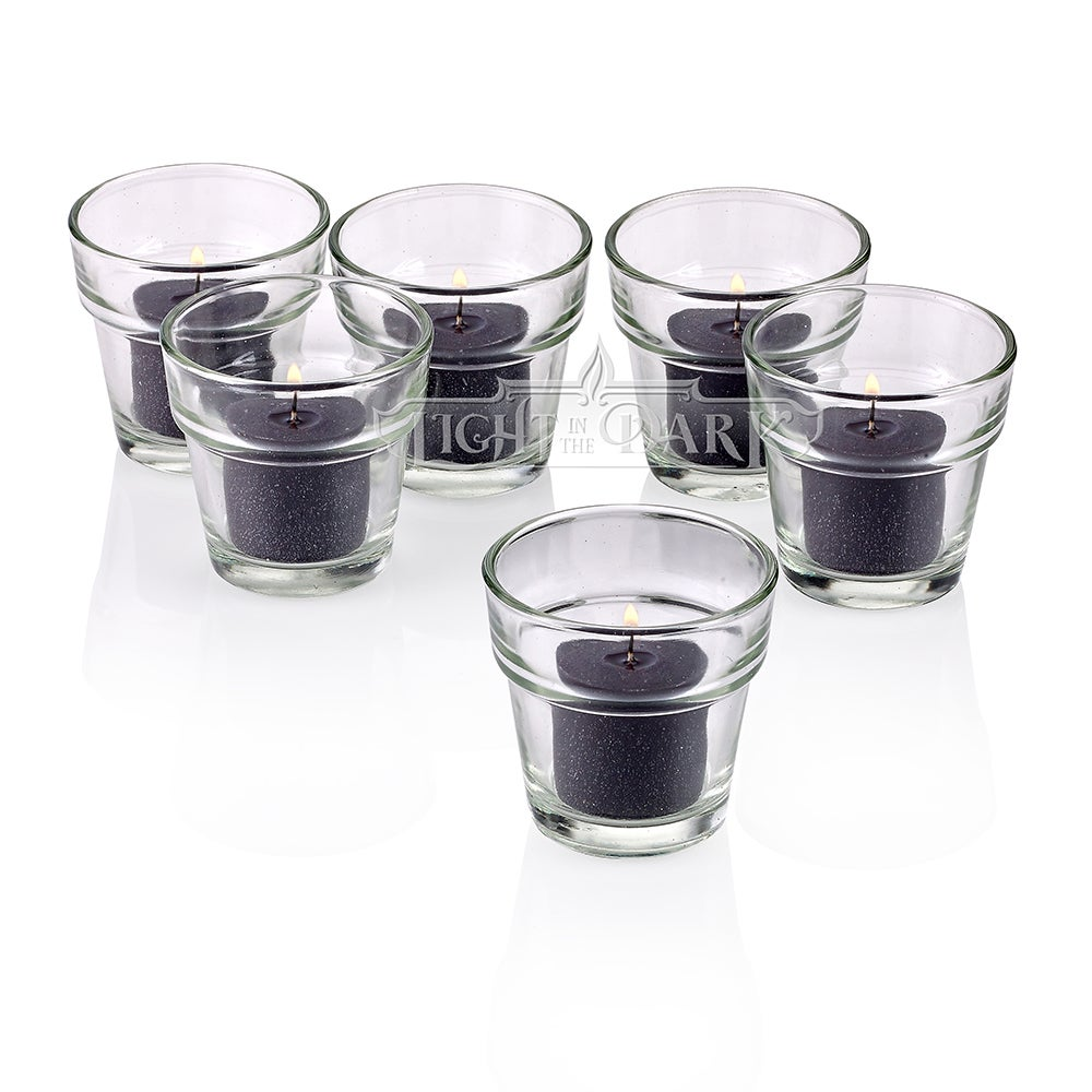 Clear Glass Flower Pot Votive Candle Holders with Black Votive Candles Burn 10 Hours Set Of 12