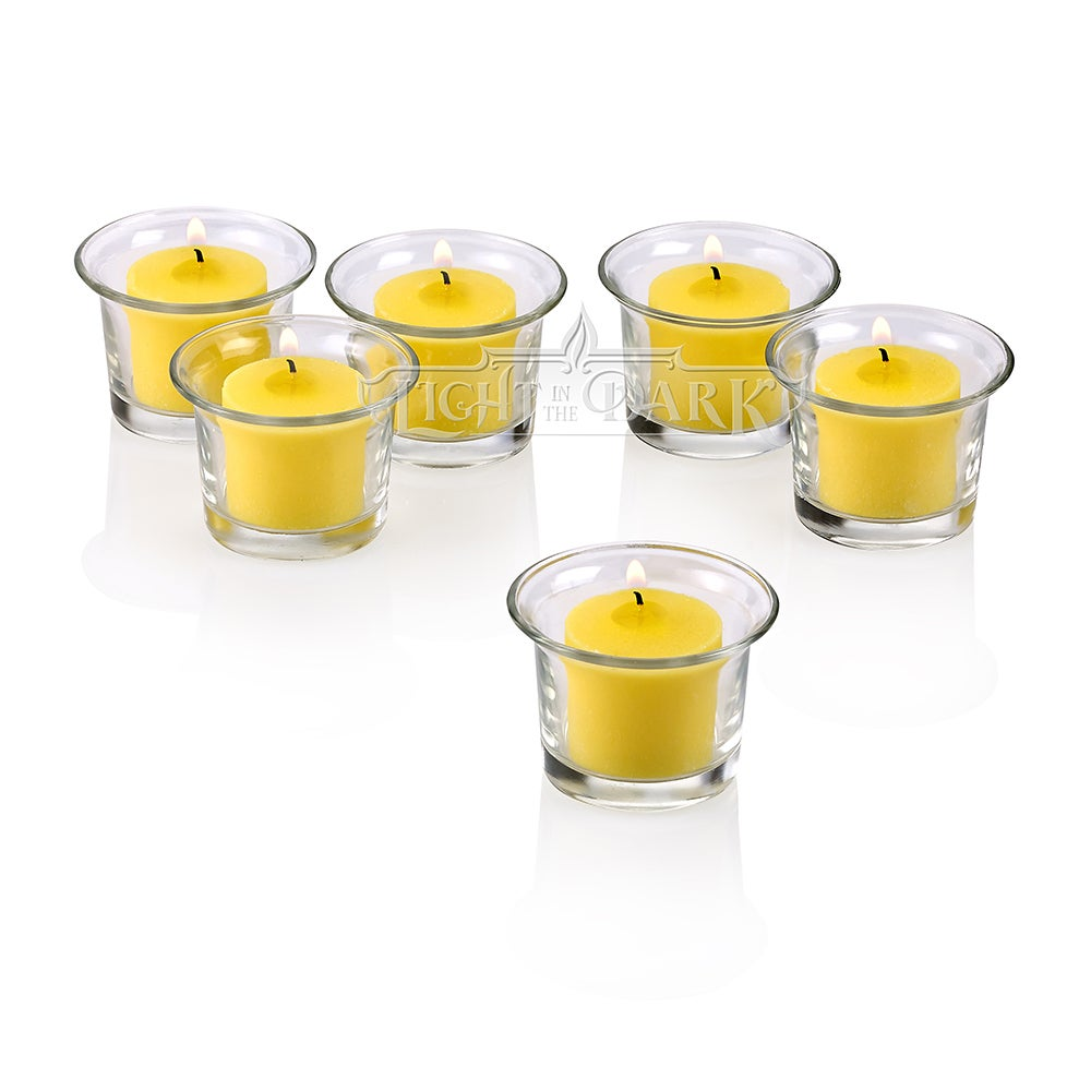 Clear Glass Lip Votive Candle Holders With Yellow votive candles Burn 10 Hours Set of 12