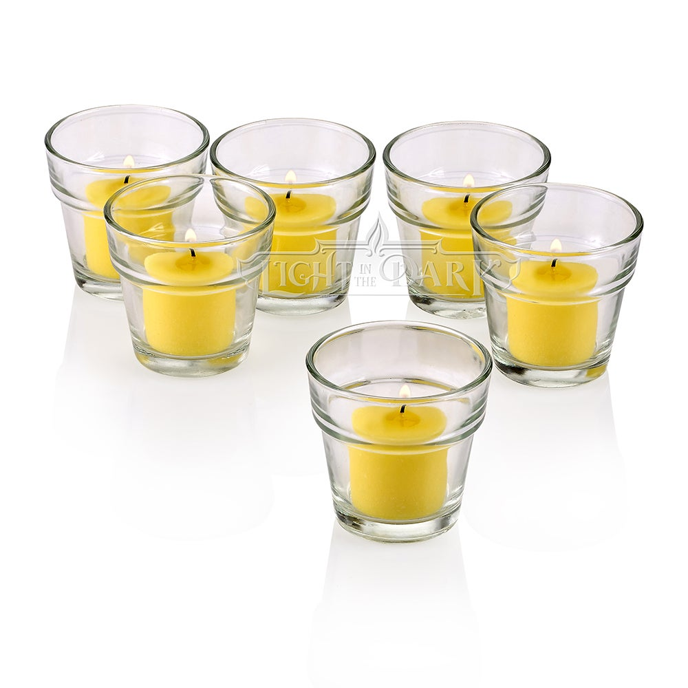 Clear Glass Flower Pot Votive Candle Holders With Yellow Votive Candles Burn 10 Hours Set Of 12