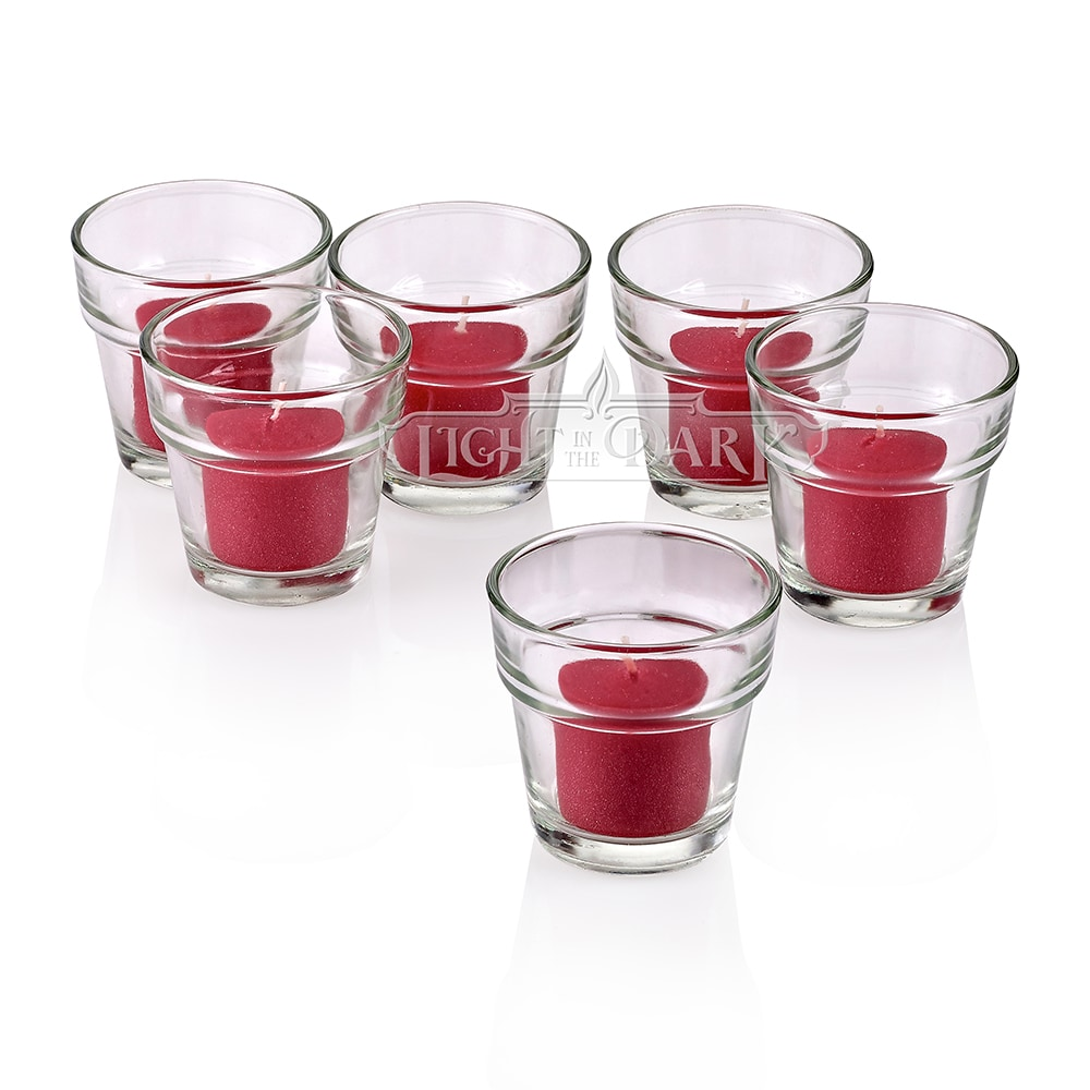 Clear Glass Flower Pot Votive Candle Holders with Red Votive Candles Burn 10 Hours Set Of 12