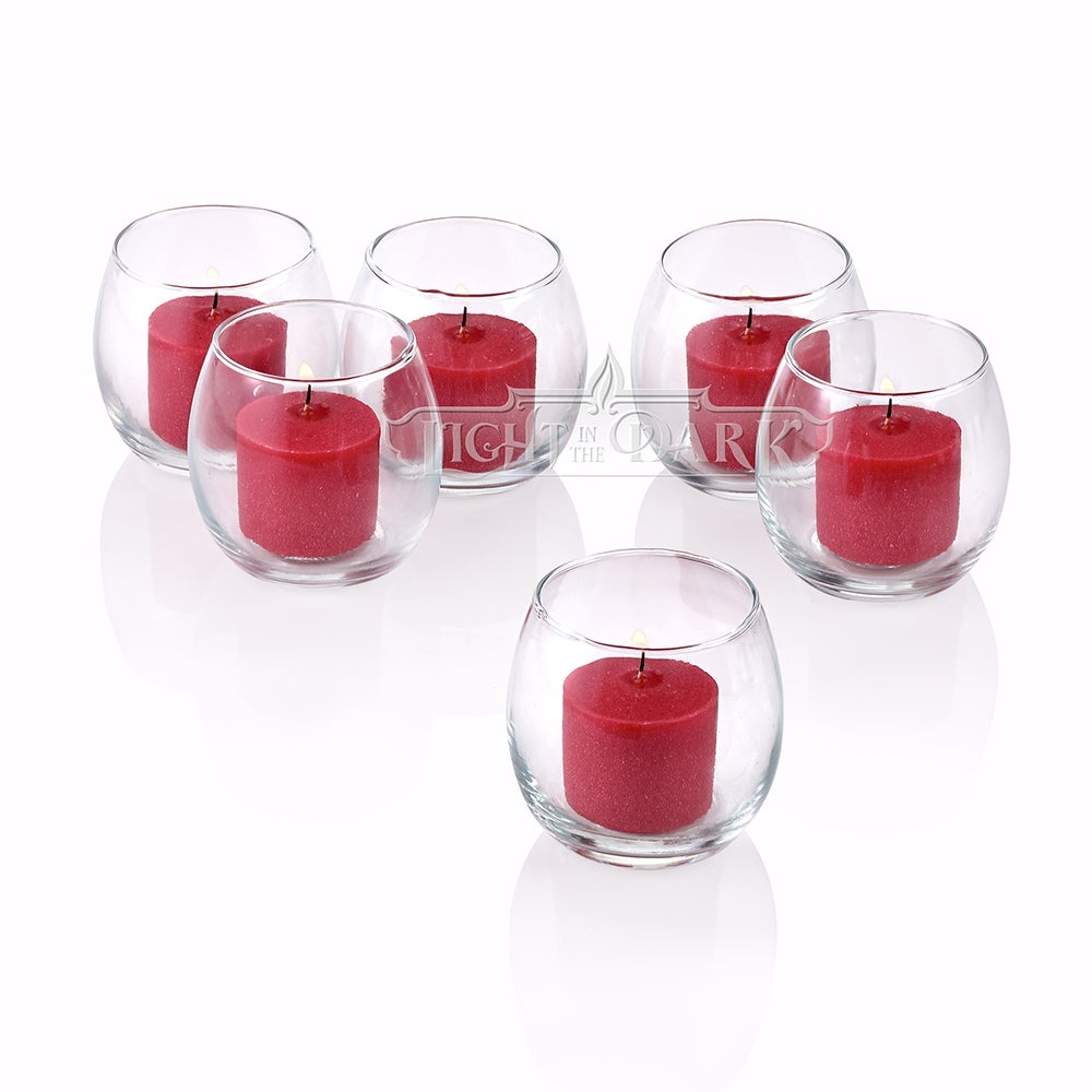 Clear Glass Hurricane Votive Candle Holders With Red votive candles Burn 10 Hours Set of 12