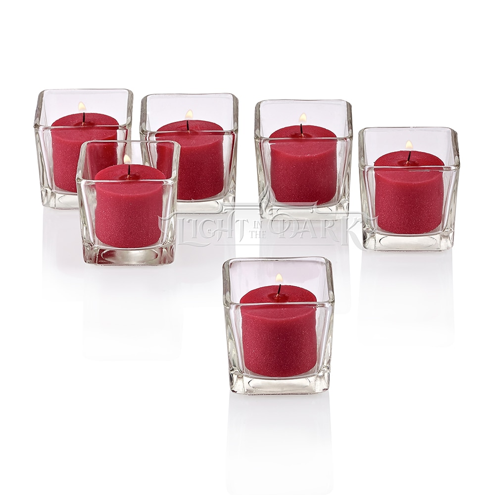 Clear Glass Square Votive Candle Holders With Red Votive Candles Burn 10 Hours Set Of 12