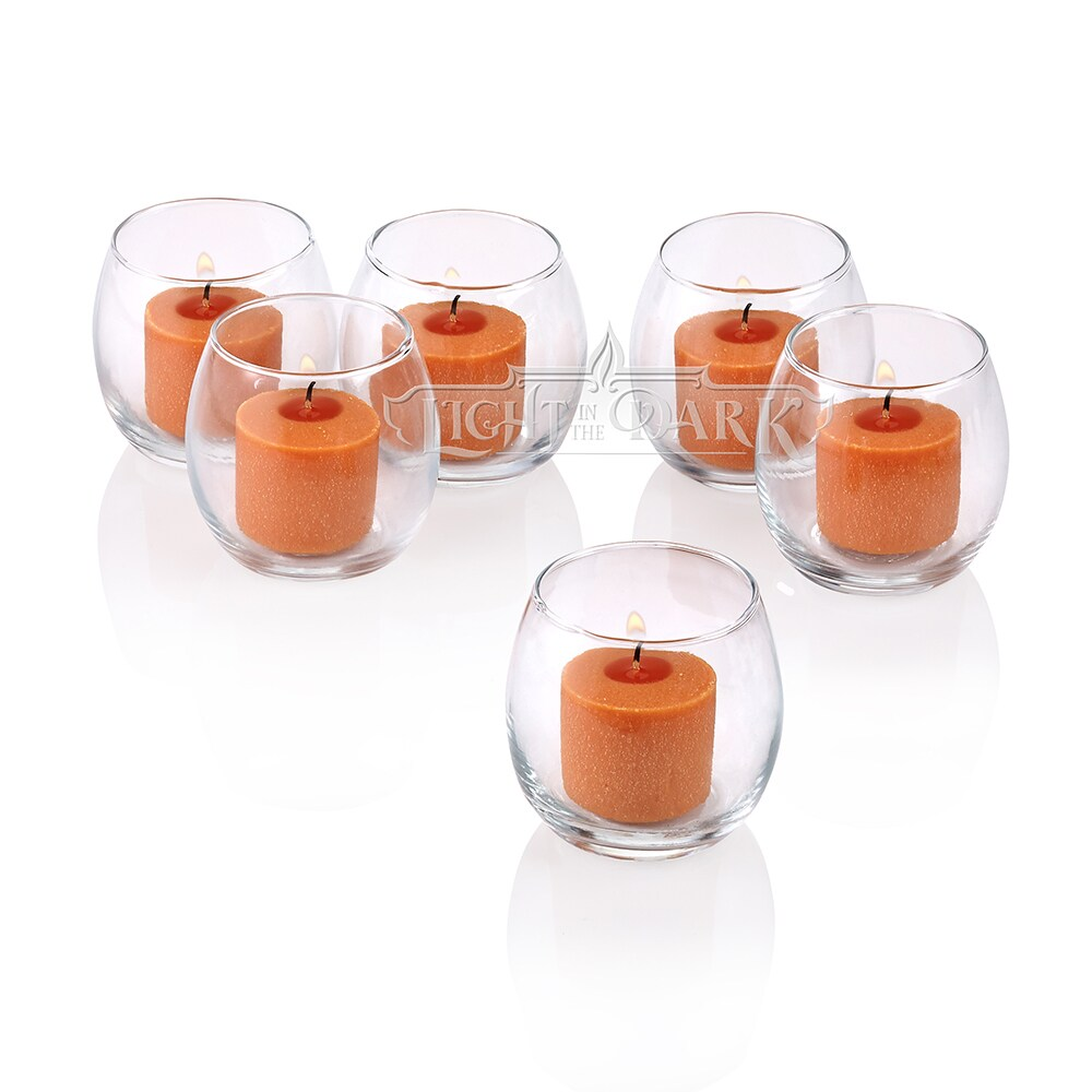 Clear Glass Hurricane Votive Candle Holders With Orange votive candles Burn 10 Hours Set of 12