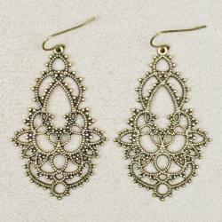 Burnished Gold Filigree Lace Earrings