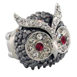 Pavé Crystal Owl Face Stretch Ring