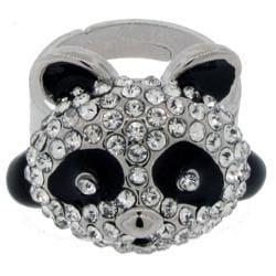 Pavé Crystal Panda Adjustable Ring