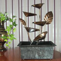 Sunnydaze Cascading Five Leaves Tabletop Fountain with LED Light, 13 Inch Tall