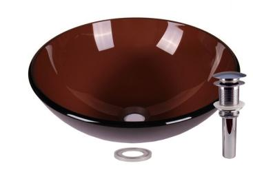 Clear Tempered Glass Smoked Brown Bathroom Vessel Basin Sink