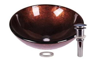 Foil Rustic Tempered Glass Bathroom Vessel Basin Sink