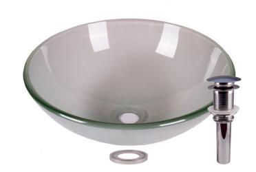 Frosted Tempered Glass Bathroom Vessel Basin Sink