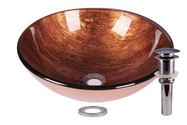 Foil Bistre Gold Tempered Glass Bathroom Vessel Basin Sink