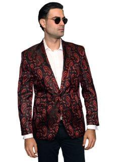 Men's Manzini Red Paisley Woven sport coat