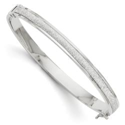 Italian 14k White Gold Fancy Glimmer Infused Hinged Bangle