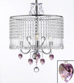 Plug In Contemporary Crystal Chandelier With 3 Lights and Pink Crystal Hearts