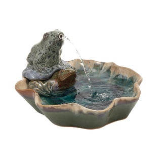 Ceramic Frog Fountain, 14 inches wide x 9 inches high