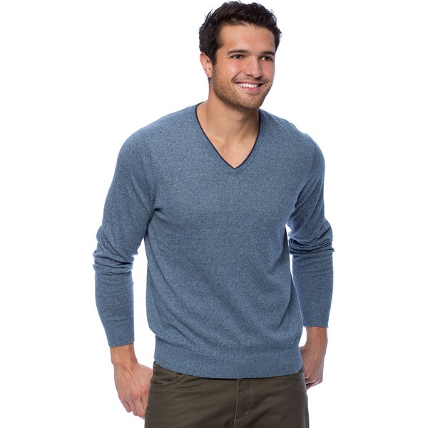 Cullen Men's Brushed Cotton V-neck Pull-over with Tipping