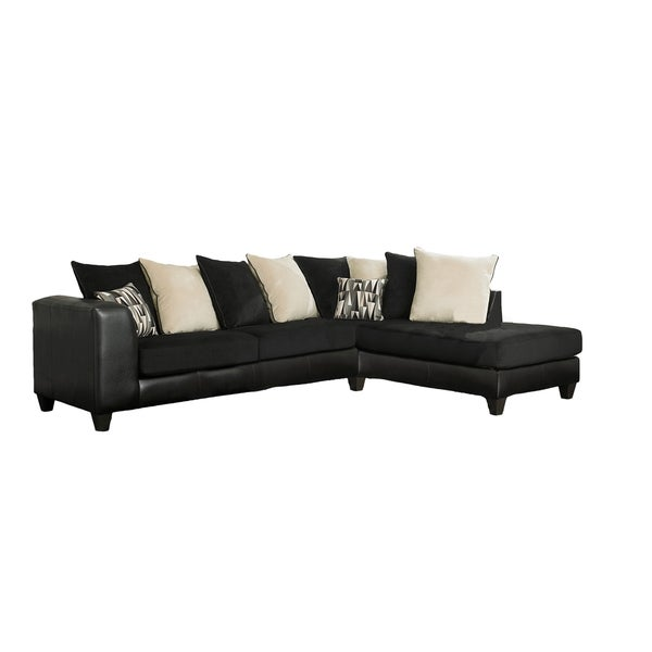 Black bicast and corduroy scatterback sectional 15302274