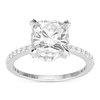 Charles and Colvard 14k White Gold Cushion-cut Moissanite Ring (Size 7)
