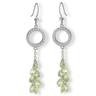 Avanti Sterling Silver Green Cubic Zirconia Drop Earrings