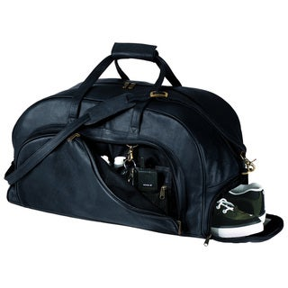 Royce Leather Genuine Leather Travel Duffel Bag with Shoe Compartment