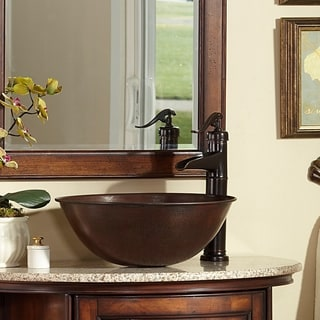 Sinkology Eddington 16-inch Solid Aged Copper Sink Above Counter Vessel Sink
