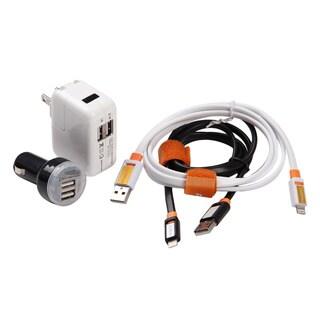 4-Piece Set: Fast Dual-USB Charging Kit Car & Home Iphone 5/6