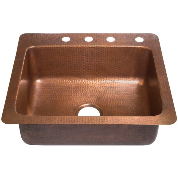 Drop In Copper Kitchen Sinks: Sinkology Kahlo 25-inch Drop-in Solid Antiqued Copper
