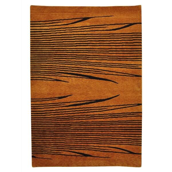 Modern Nepali Tiger Design Burnt Orange Handmade Rug (5'4 x 7'9)