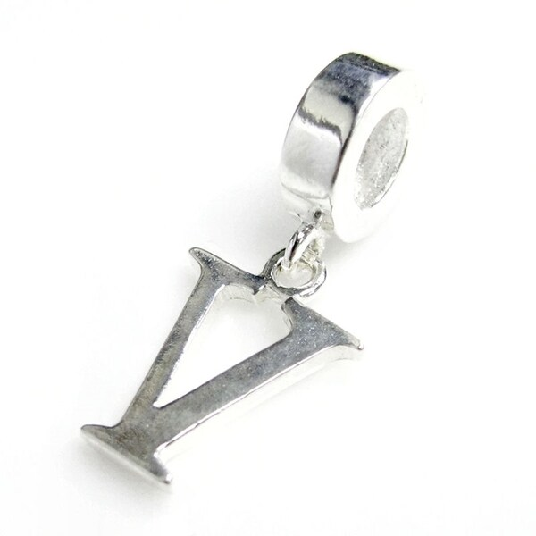 Queenberry Sterling Silver Initial Letter Alphabet 'V' Dangle European Bead Charm