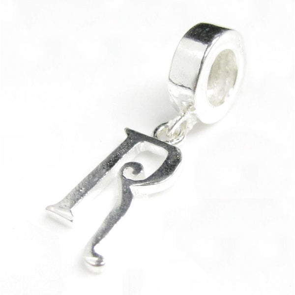 Queenberry Sterling Silver Initial Letter Alphabet 'R' Dangle European Bead Charm
