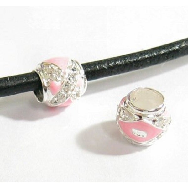 Queenberry Sterling Silver Pink Enamel CZ Crystals Love Hug European Bead Charm