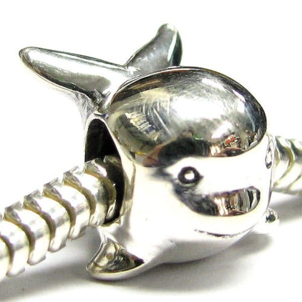 Queenberry Sterling Silver Cute Whale / Dolphin Mammal European Bead Charm
